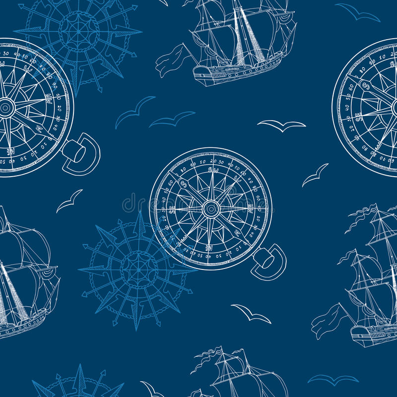 Free Seamless Background With Compass, Ship And Gull Royalty Free Stock Images - 58790859