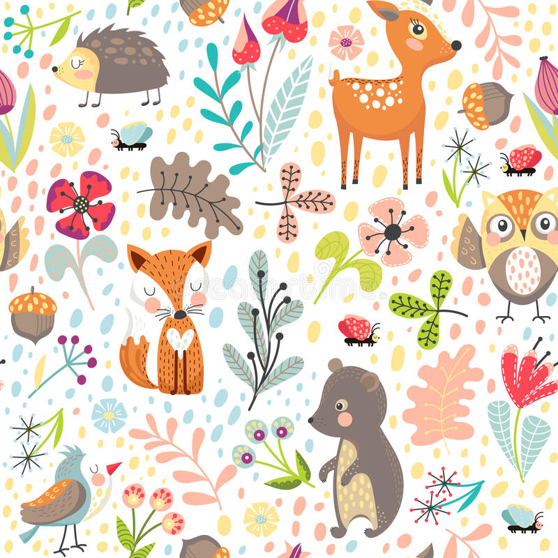 Free Seamless Background With Forest Animals Royalty Free Stock Photo - 96863765