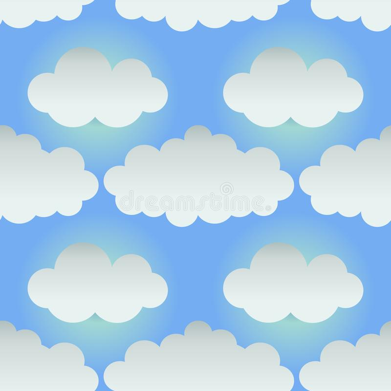 Free Seamless Background With Paper Clouds. Cartoon Style. Vector Royalty Free Stock Photo - 118983995