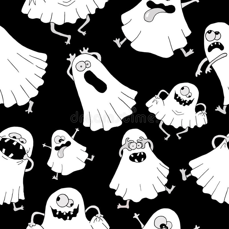 Free Seamless Background With White Ghosts Royalty Free Stock Photos - 51901048