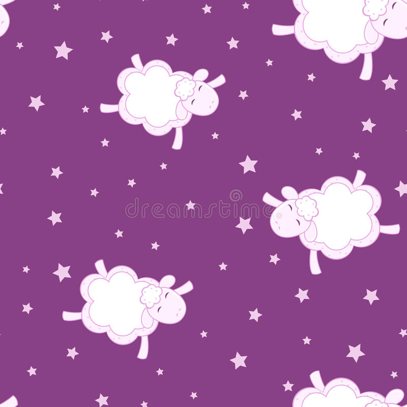Seamless background for the World Sleep Day. Sheep from the clouds fly with his eyes closed. World Sleep Day. Festive illustration for invitation or royalty free illustration