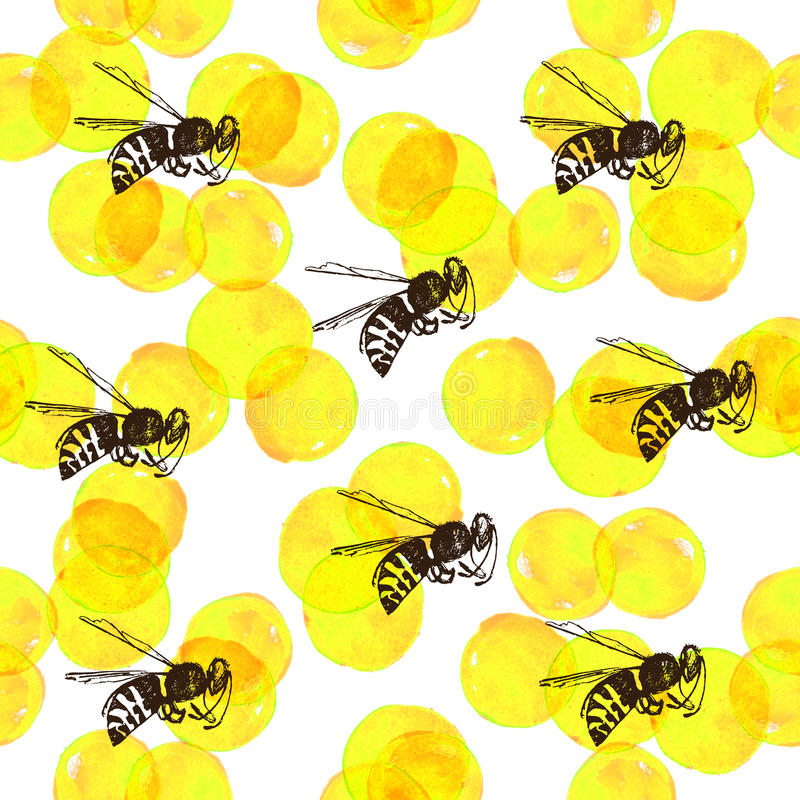 Seamless background with yellow watercolor circles and bees vector illustration
