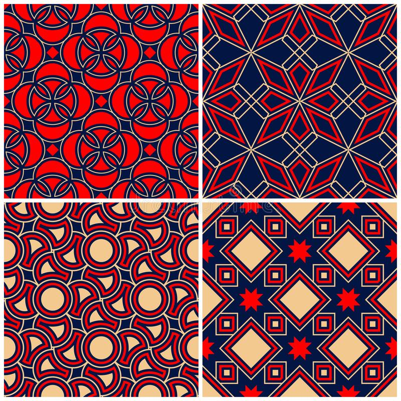 Seamless backgrounds. Blue beige and red classic sets with geometric patterns stock illustration