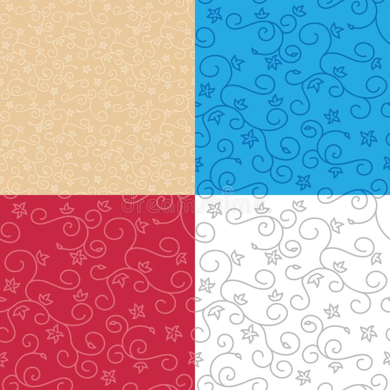 Seamless backgrounds with swirl texture - vector set of patterns stock illustration