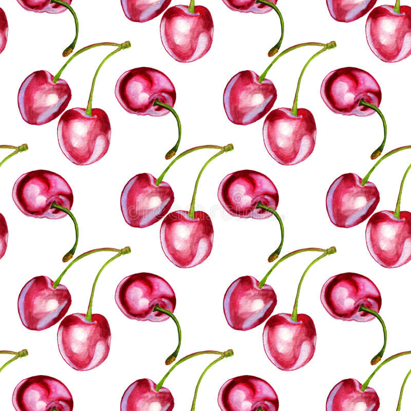 Seamless backround with cherries stock illustration