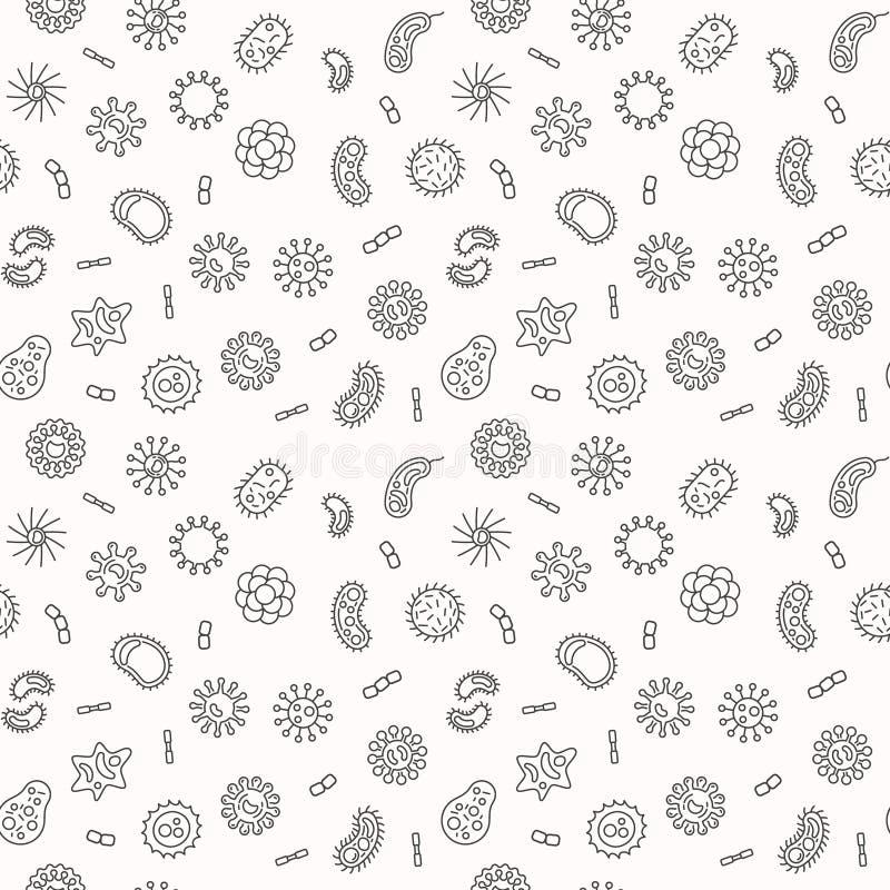 Seamless bacteria pattern. Vector microbiology illustration vector illustration