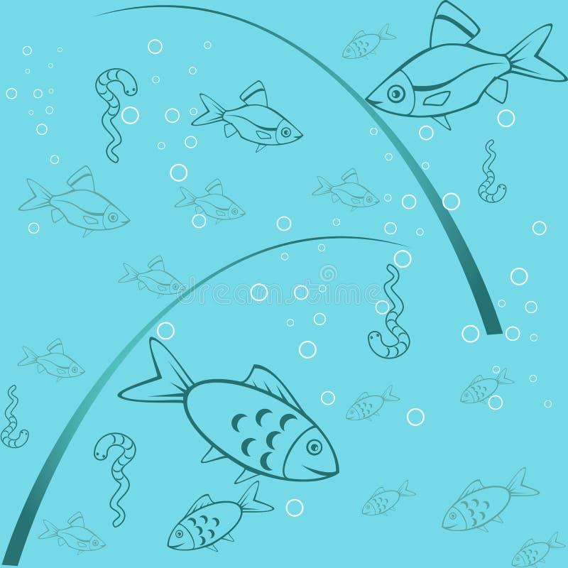 Seamless bakgrund av fiske vektor illustrationer