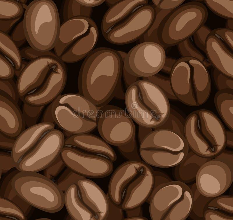 Seamless bakgrund för kaffebönor. royaltyfri illustrationer