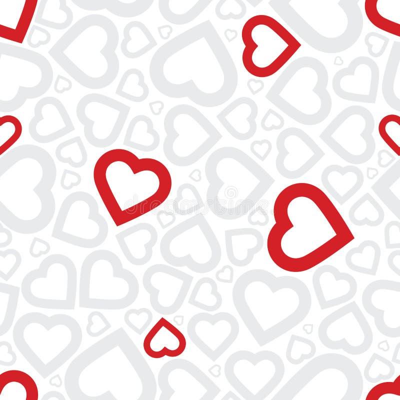 Seamless bakgrund för ljus hjärta för förälskelse röd stock illustrationer