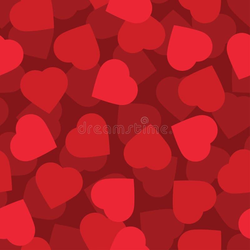 Seamless bakgrund för röda hjärtor stock illustrationer