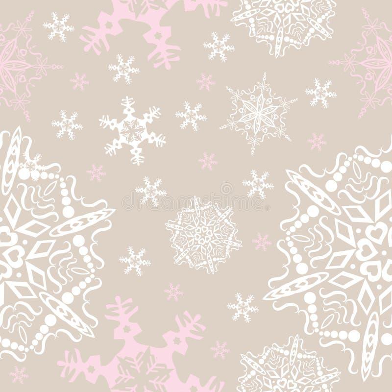 Seamless bakgrund för vektorsnowflakes stock illustrationer