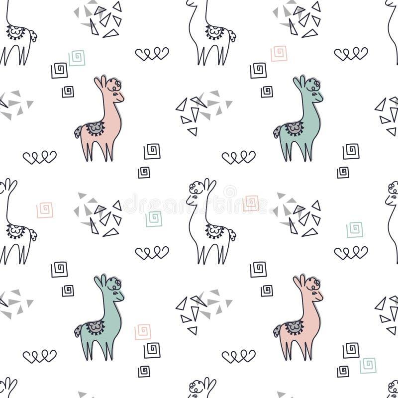 Seamless bakgrund Gulliga rosa och blåa lamor eller alpacas på en vit bakgrund stock illustrationer