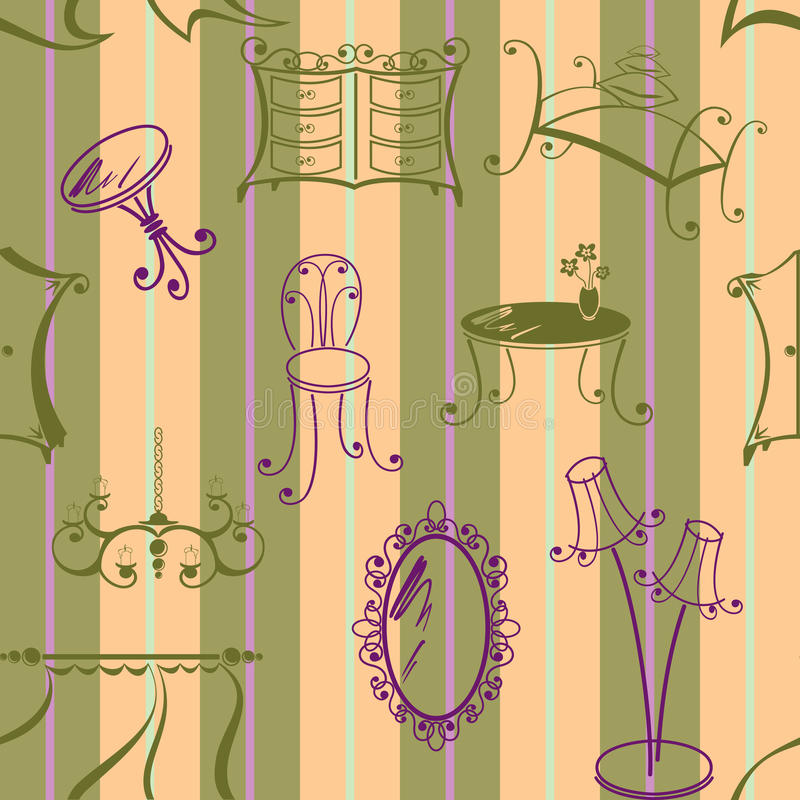 Seamless bakgrund med element av möblemang stock illustrationer