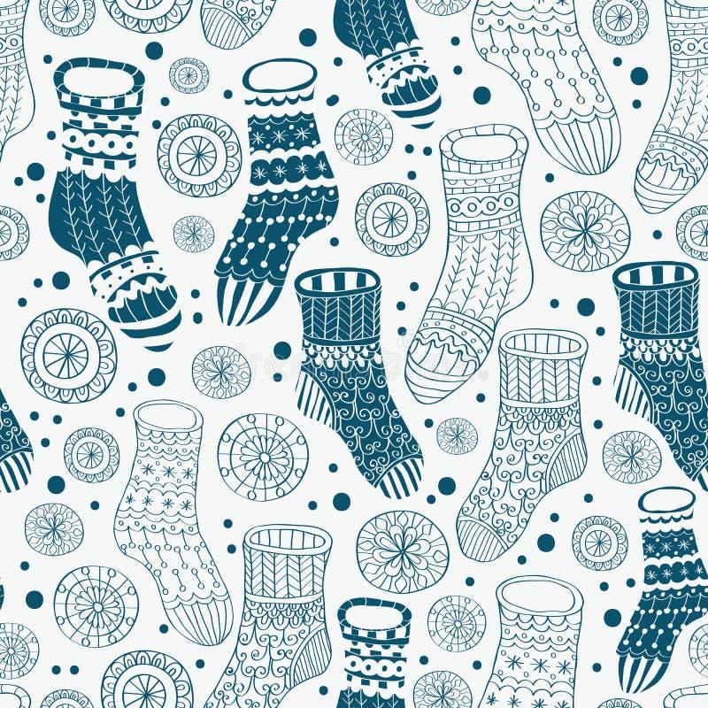 Seamless bakgrund med strumpor stock illustrationer