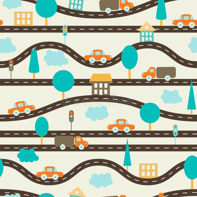 Seamless bakgrund Modellen för barn` s med vägar, bilar, träd, trafikljus, inhyser och fördunklar Brunt apelsin, blått stock illustrationer