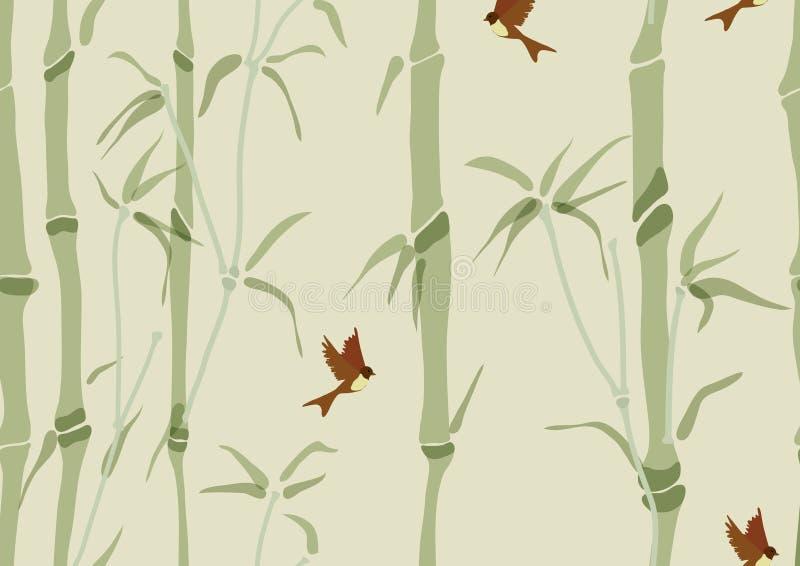seamless bakgrundsbambufåglar vektor illustrationer