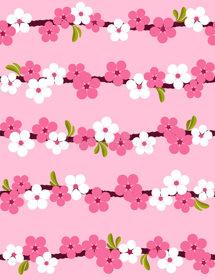 seamless bakgrundsblomningCherry stock illustrationer