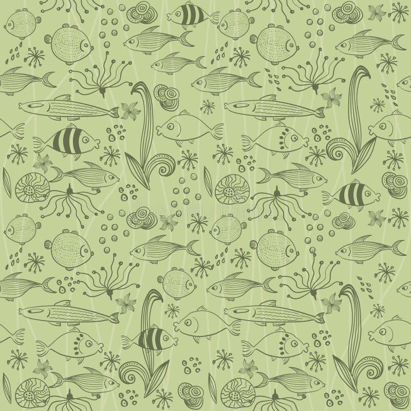 seamless bakgrundsfisk royaltyfri illustrationer
