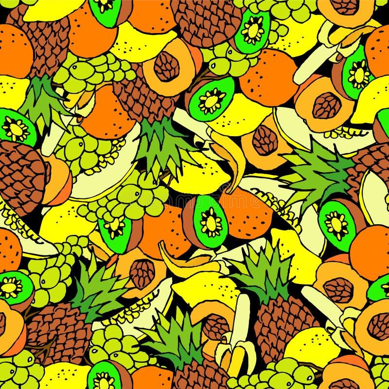 seamless bakgrundsfrukt tecknad hand stock illustrationer