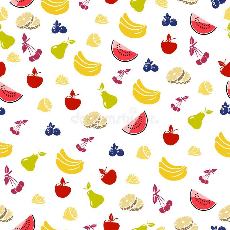 seamless bakgrundsfrukt Vektorbakgrund med ananors, äpplen, körsbär seamless bakgrundsfrukt royaltyfri illustrationer