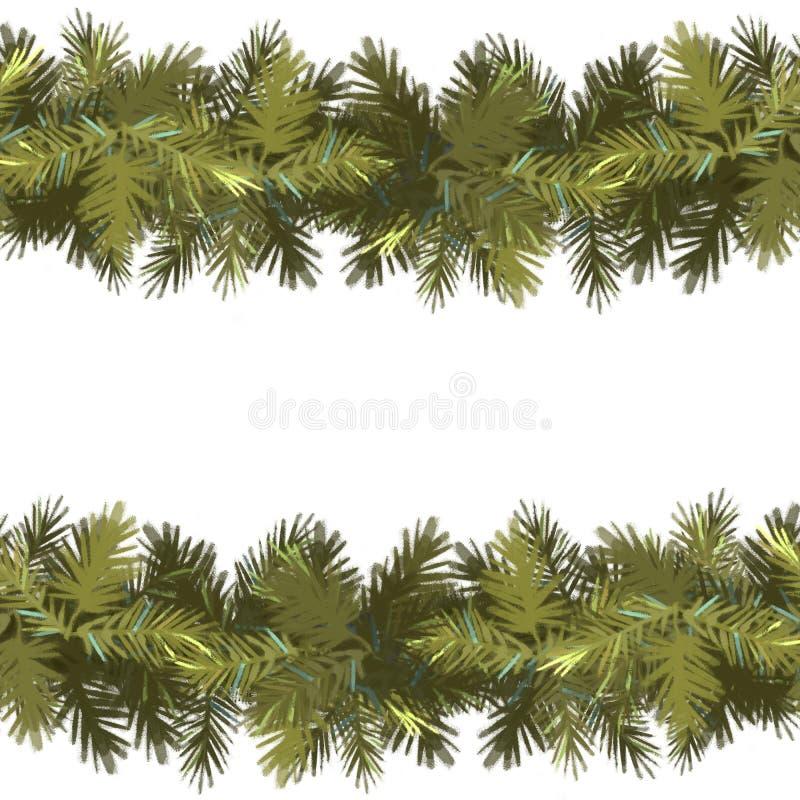 seamless bakgrundsjulmodell Prydlig grön girland som isoleras på vit bakgrund nytt år stock illustrationer