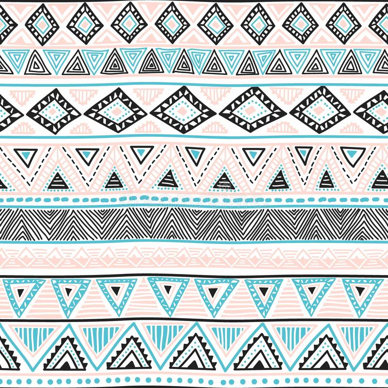 seamless bakgrundsperson som tillhör en etnisk minoritet Geometrisk ljus modell Blått blac royaltyfri illustrationer
