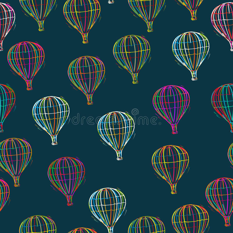 Patchwork With Hot Air Balloons Stock Vector