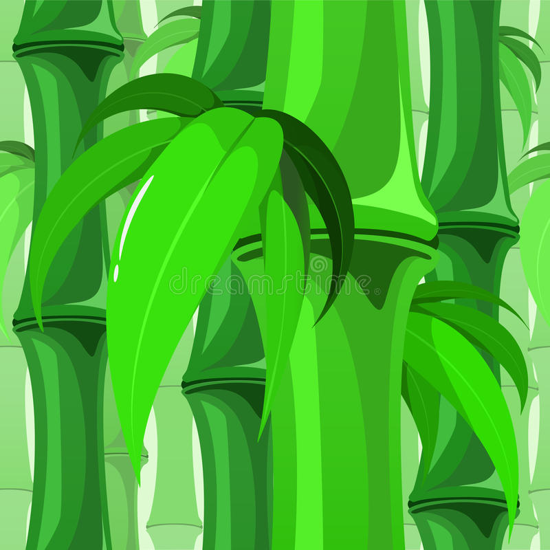 Seamless Bamboo Pattern with Leaves. Seamless pattern of bamboo branches with leaves vector illustration