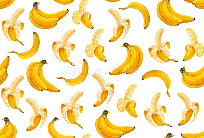 Seamless pattern with bright yellow, hand-drawn bananas with high details in a realistic style. Perfect. For wallpapers, web page backgrounds, surface textures stock illustration