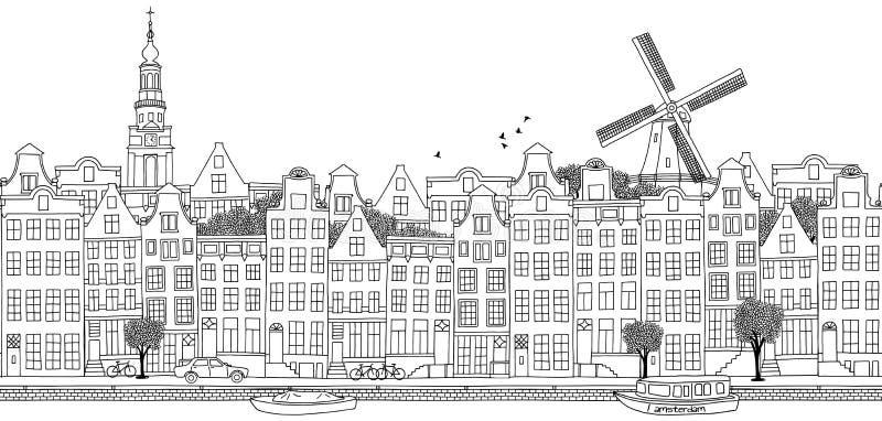 Seamless banner of Amsterdam's skyline. Hand drawn black and white illustration royalty free illustration