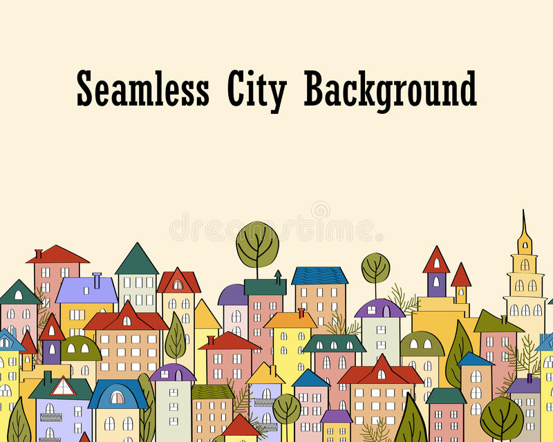 Seamless banner background with rows of colorful cartoon houses stock illustration
