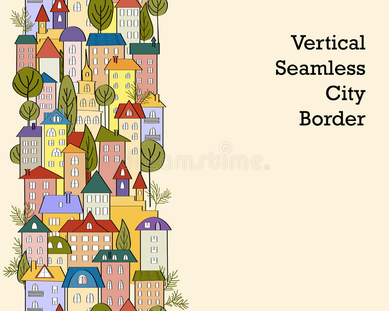 Seamless banner background with rows of colorful cartoon houses. Seamless vertical banner background with rows of colorful cartoon houses. Vector Illustration stock illustration
