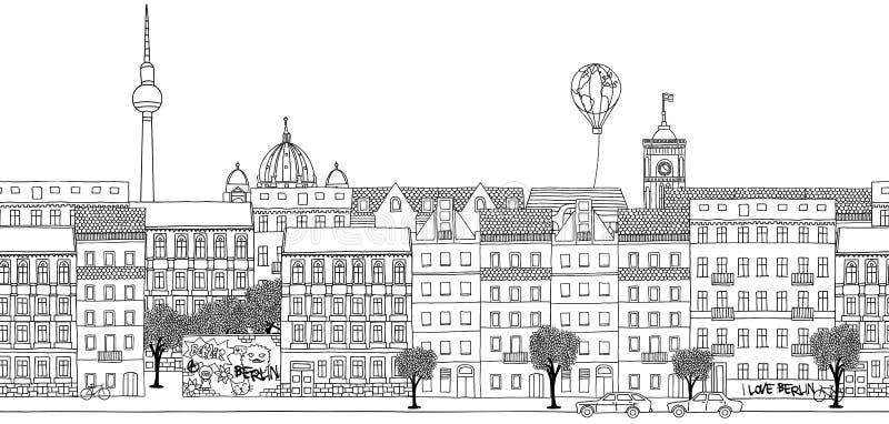 Seamless banner of Berlin's skyline. Hand drawn black and white illustration of Berlin vector illustration