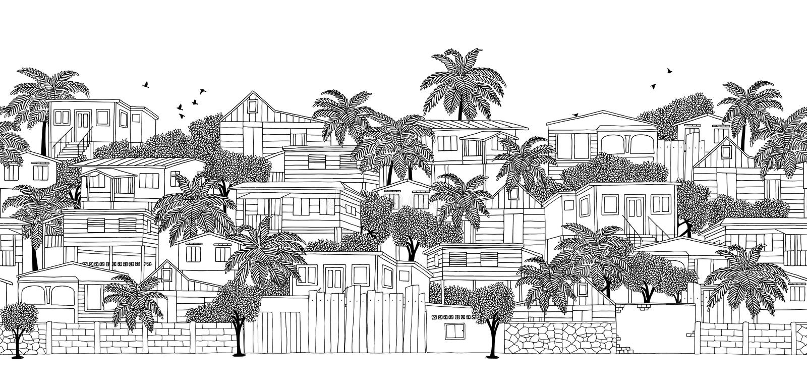 Seamless banner of a Caribbean village. With wooden stilt houses, hand drawn black and white illustration vector illustration