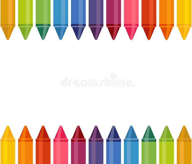 Seamless banner with colored pencils on white background. Great for your Back To School Projects. Seamless banner with colored pencils on white background. Great stock illustration