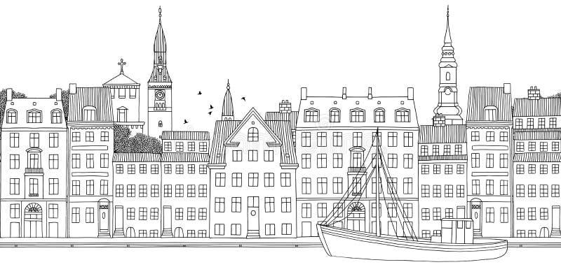 Seamless banner of Copenhagen. Copenhagen, Denmark - Seamless banner of the city's skyline, hand drawn black and white illustration stock illustration