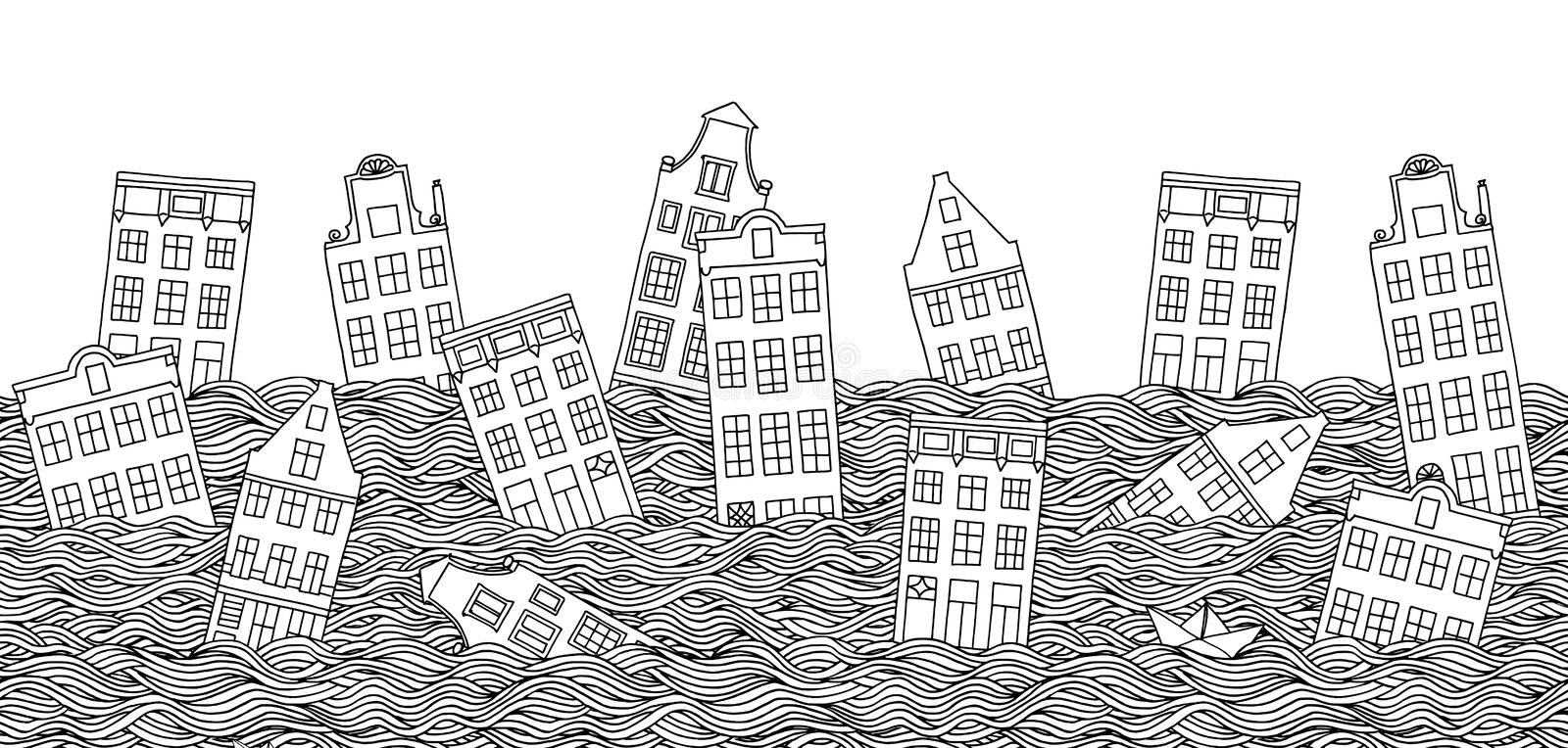 Seamless banner with drowning houses. Hand drawn seamless banner with drowning houses in black and white royalty free illustration
