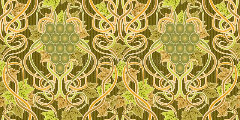 Seamless banner with grape in art nouveau style. Vector illustration stock illustration