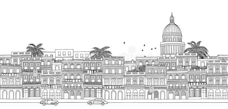Seamless banner of Havana's skyline. Havana, Cuba - seamless banner of Havana's skyline, hand drawn black and white illustration vector illustration