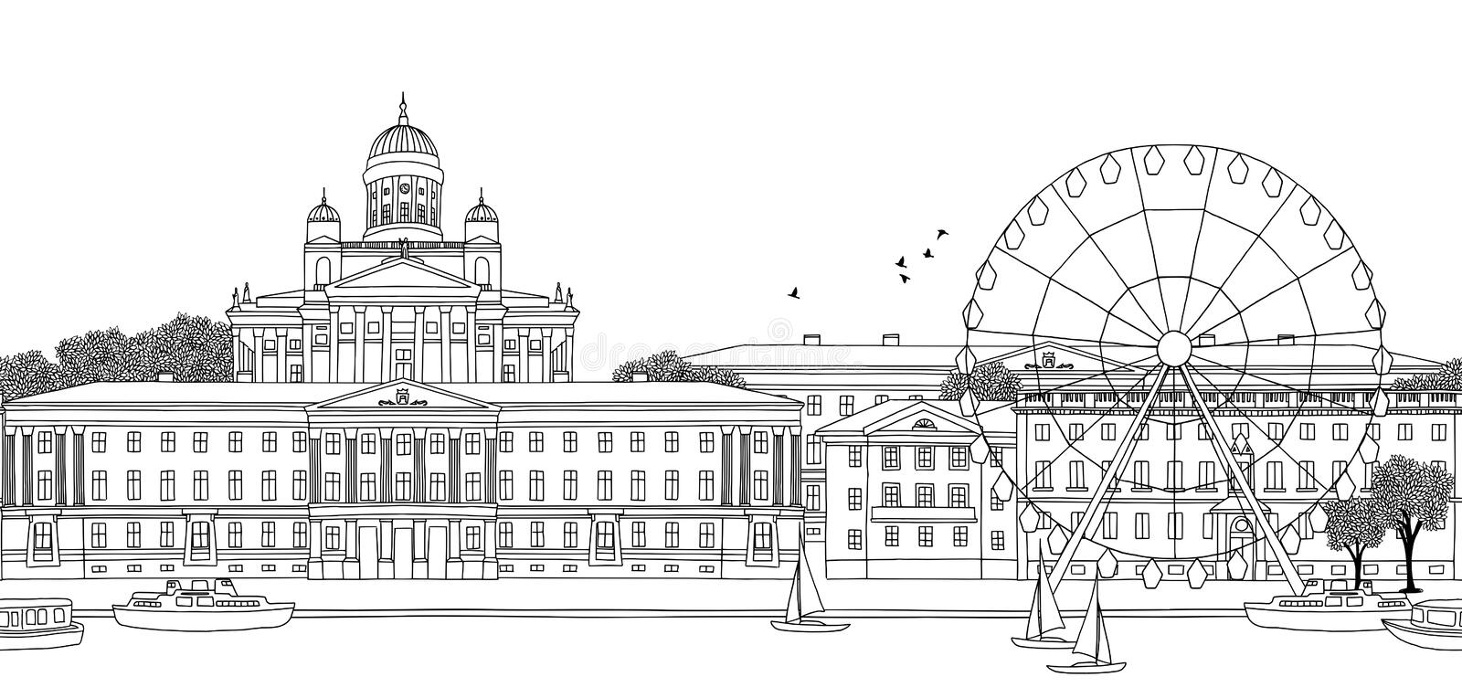 Seamless banner of Helsinki. Helsinki, Finland - Seamless banner of the city's skyline, hand drawn black and white illustration royalty free illustration