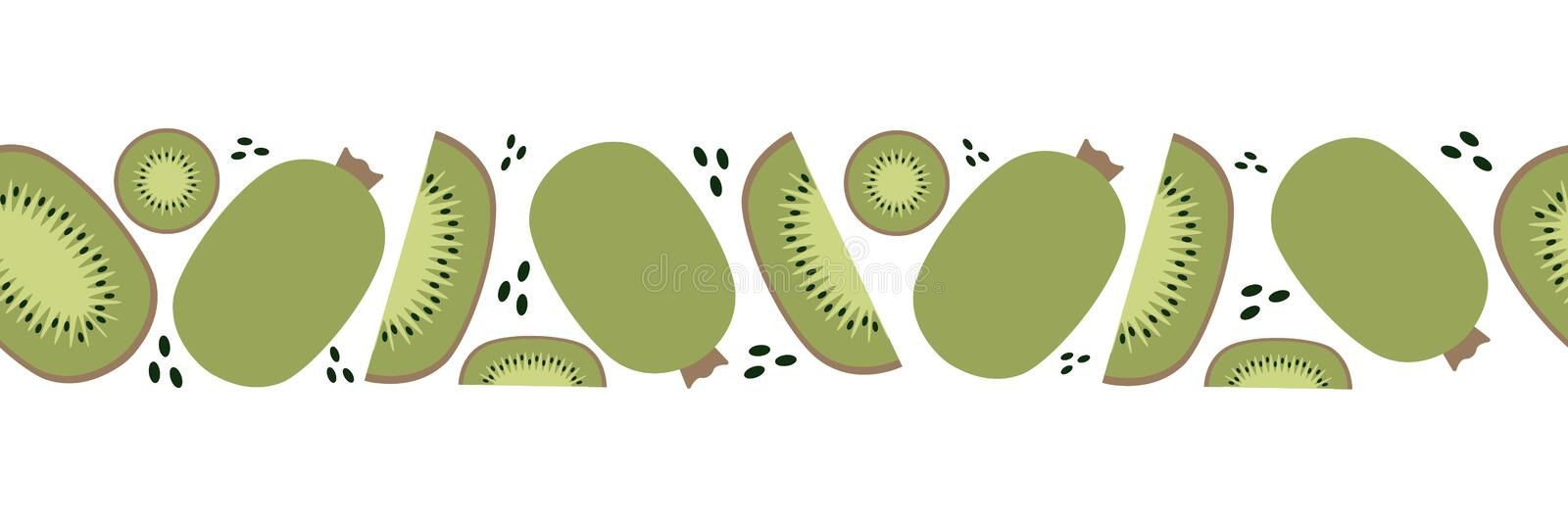 Seamless banner of kiwi, trendy plant, fabric in flat style.  stock illustration