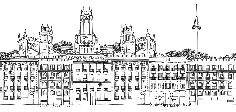 Seamless banner of Madrid royalty free illustration