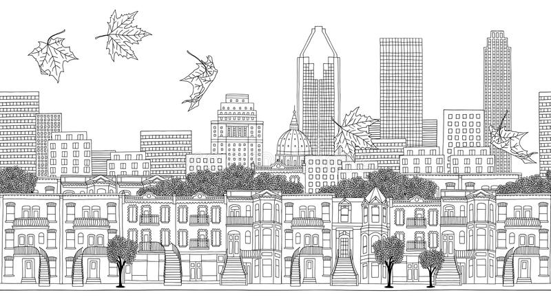 Seamless banner of Montreal, Quebec stock illustration