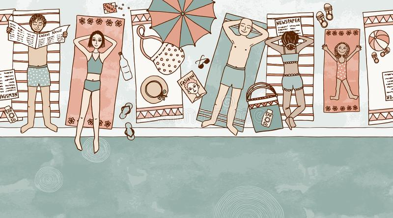Seamless banner of people lying at the pool. Seamless banner of couples and a child lying at the pool vector illustration