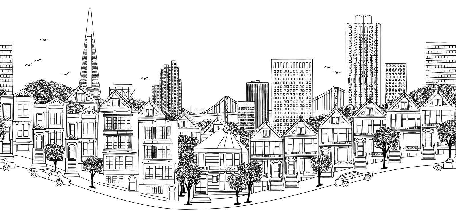 Seamless banner of San Francisco, USA. San Francisco, USA - seamless banner of the city`s skyline, hand drawn black and white illustration royalty free illustration