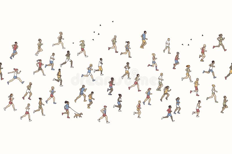 Seamless banner of tiny marathon runners. Can be tiled horizontally: a diverse collection of small hand drawn men and women running from left to right royalty free illustration