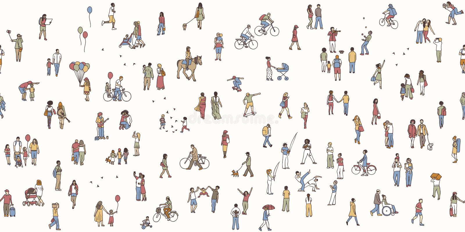 Seamless banner of tiny pedestrians. Seamless banner of tiny people, can be tiled horizontally: pedestrians in the street, a diverse collection of small hand stock illustration