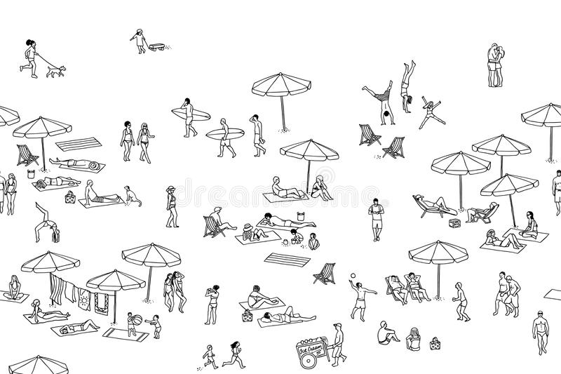 Seamless banner of tiny people at the beach. Seamless banner, can be tiled horizontally: a diverse collection of small hand drawn men, women and kids playing vector illustration