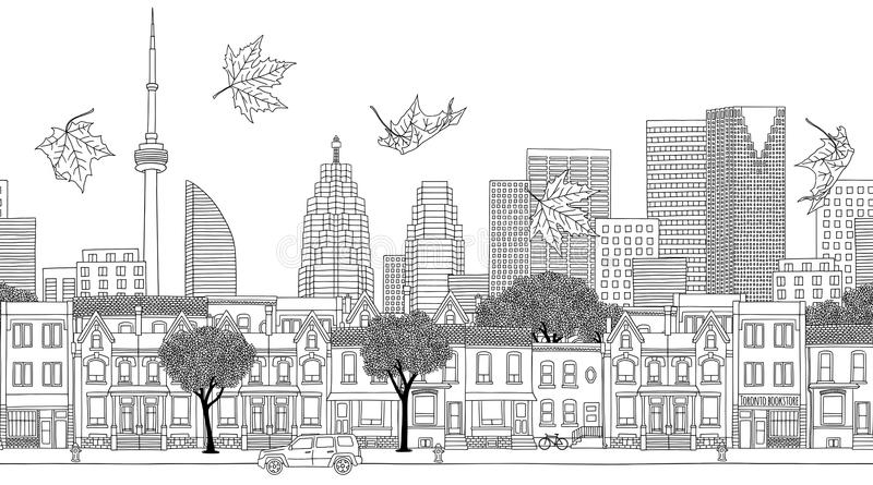 Seamless banner of the Toronto's skyline. Toronto, Canada - Seamless banner of the city's skyline, hand drawn black and white illustration royalty free illustration