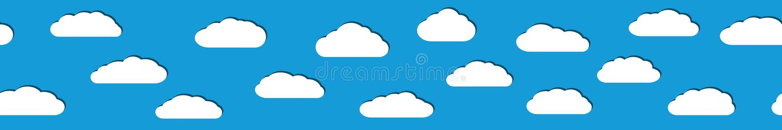 Seamless banner of white clouds with shadows. Seamless horizontal banner of white clouds with shadows in flat style on light blue background vector illustration